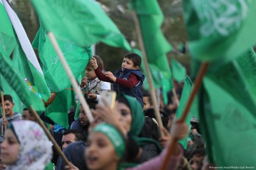 Supporters of Hamas come together to celebrate their anniversary in Gaza on 17 December 2018 [Mohammed Asad/Middle East Monitor]