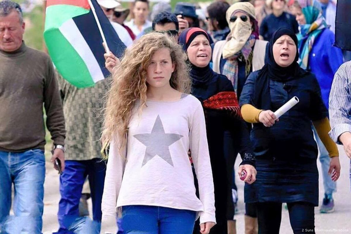 Ahed Al-Tamimi can be seen protesting during a demonstration against Israel's treatment on Palestinians [2 Suns Shamsaan/Facebook]