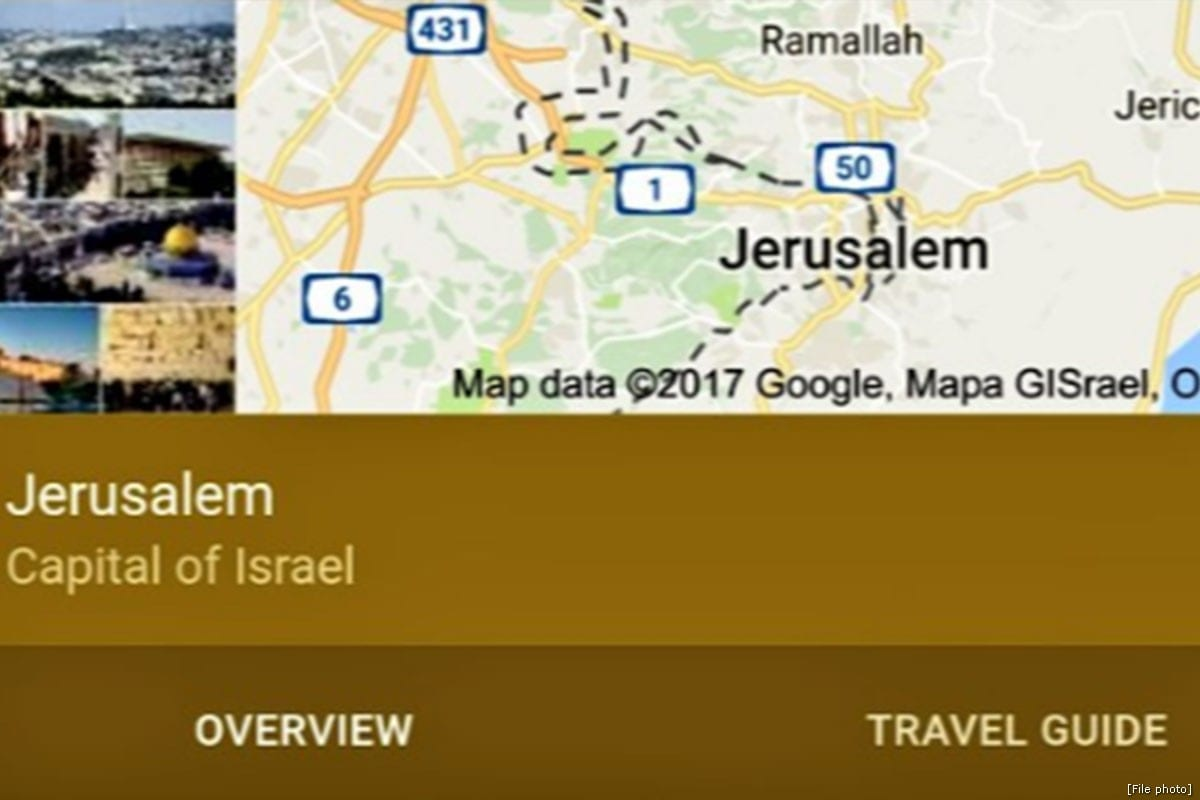 The global search engine Google and Google Maps have changed the capital of Israel from Tel Aviv to Jerusalem [Google]
