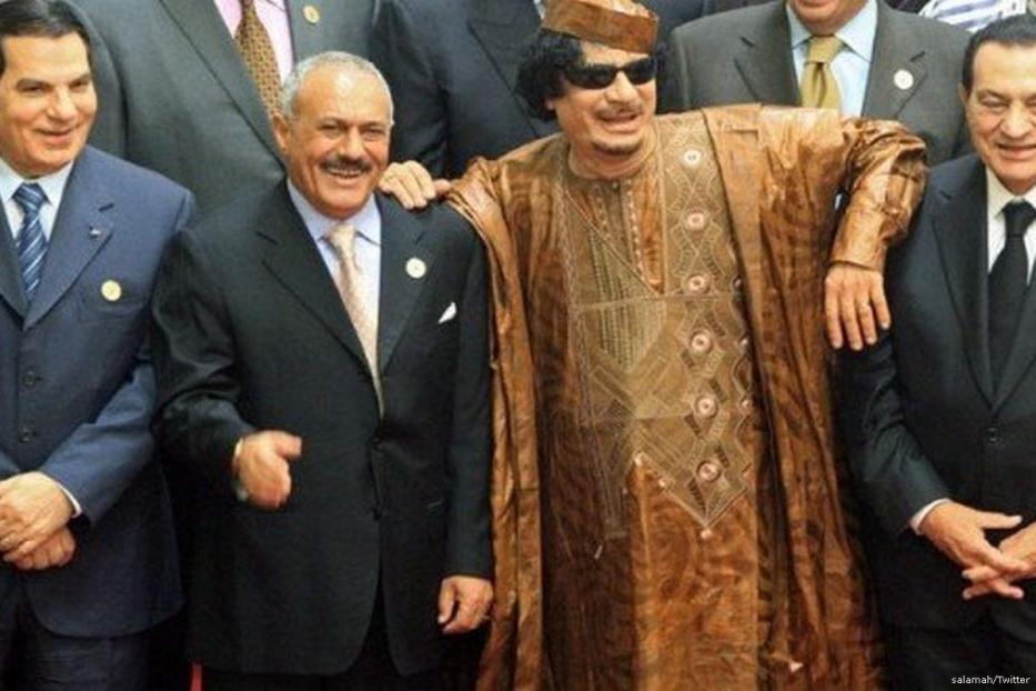 Tunisia's Ben Ali, (1L), Libya's Muammar Gaddafi (CL), Yemeni President Ali Abdullah Saleh (CR) Egypt's Hosni Mubarak (1R) [Twitter]
