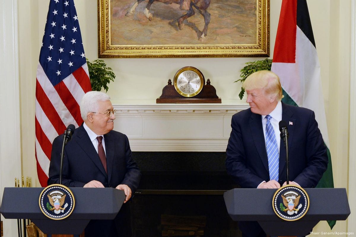 Palestinian President Mahmoud Abbas meets with US President Donald Trump in New York City, US on 3 May 2017 [Thaer Ghanaim/Apaimages]