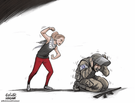 Ahed Tamimi, the Palestinian girl who was arrested for slapping and humiliating Israeli soldiers - Cartoon [Mahmoud Hendawi]