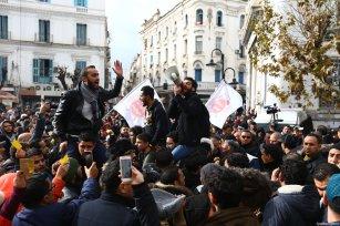 Tunisian protesters on 12 January 2018 [Yassine Gaidi / Anadolu Agency]