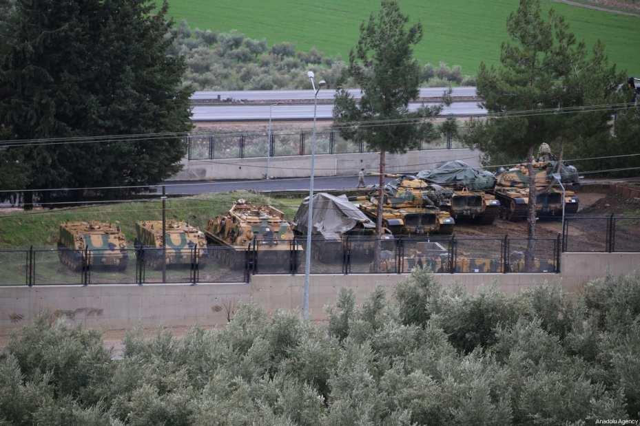 HATAY, TURKEY - JANUARY 19: Deployed Turkish Army tanks to reinforce the border units are seen in Hatay, Turkey on January 19, 2018. ( Cem Genco - Anadolu Agency )