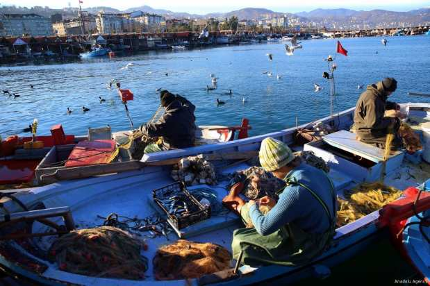 TRABZON, TURKEY- Fishermen return after a successful day out fishing on a sunny winter's day