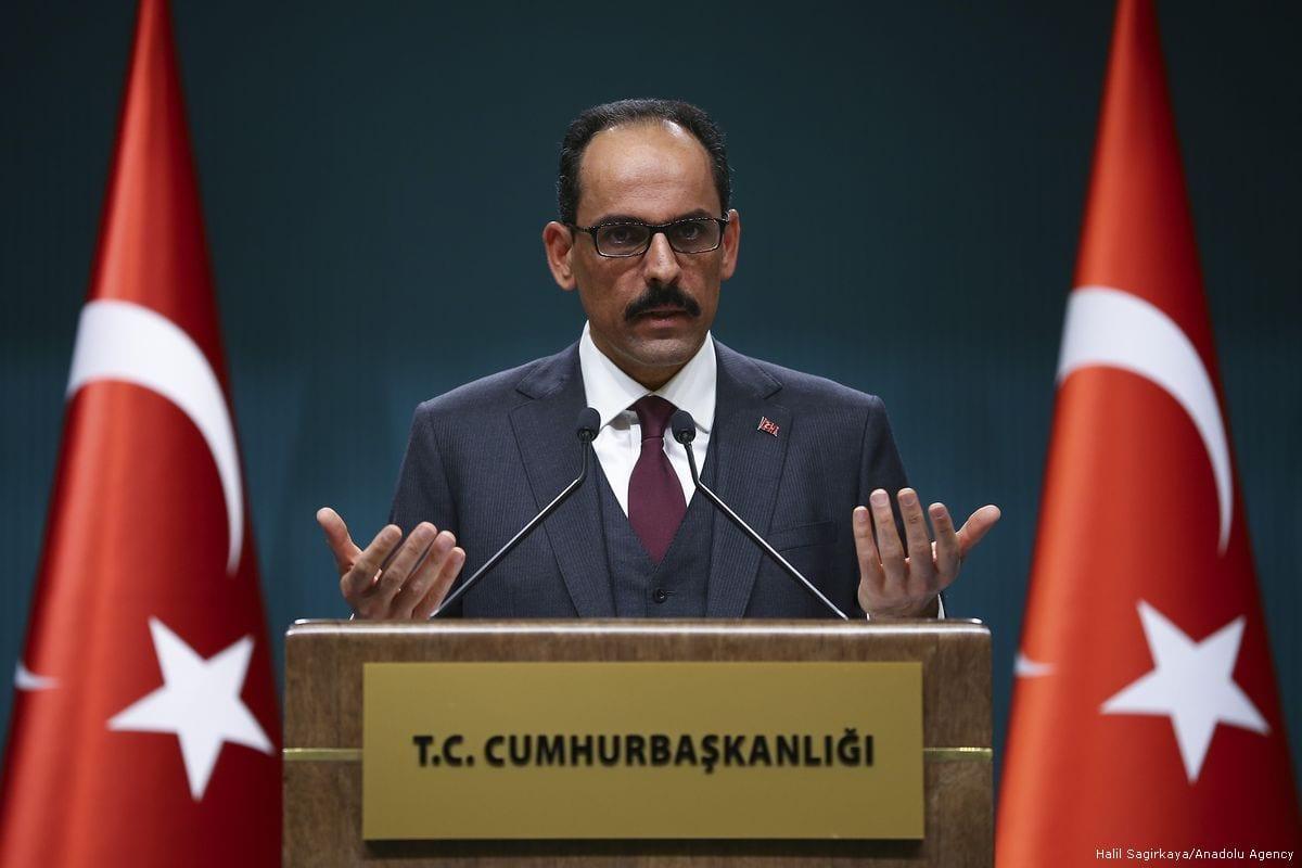 Turkish Presidential Spokesman Ibrahim Kalin holds a press conference in Ankara, Turkey on 4 January 2018 [Halil Sağırkaya/Anadolu Agency]