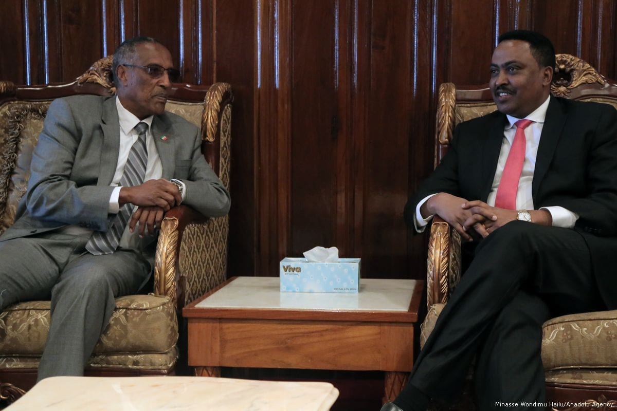 President of Somaliland Muse Bihi Abdi (L) meets Minister of Foreign Affairs of Ethiopia, Workneh Gebeyehu (R) in Addis Ababa, Ethiopia on 16 January 2018 [Minasse Wondimu Hailu/Anadolu Agency]