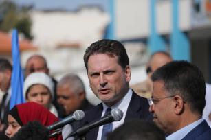 Pierre Krähenbühl, commissioner-general of the UN Relief and Works Agency (UNRWA) seen during his visit to Gaza on Janaury 22, 2018 [Middle East Monitor / Mohammad Asad]