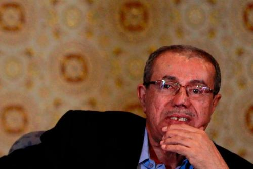 Sadeq Amin Abu Ras seen attending a meeting in the Yemeni capital Sanaa in 2016 [Mohammed Huwais / AFP]