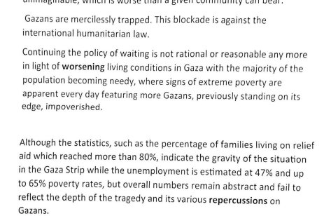 Text of the press release issues by Gazan's who gatherered outside the UN offices in Gaza to protest US cuts to UNRWA's funding, on January 28, 2018 [Mohammad Asad / Middle East Monitor]