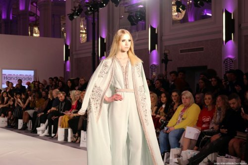 Ghita Lahrichi's line Handmade on display at Stories from Arabia, London Fashion Week, on 19 February 2018 [Jehan Alfarra/Middle East Monitor]