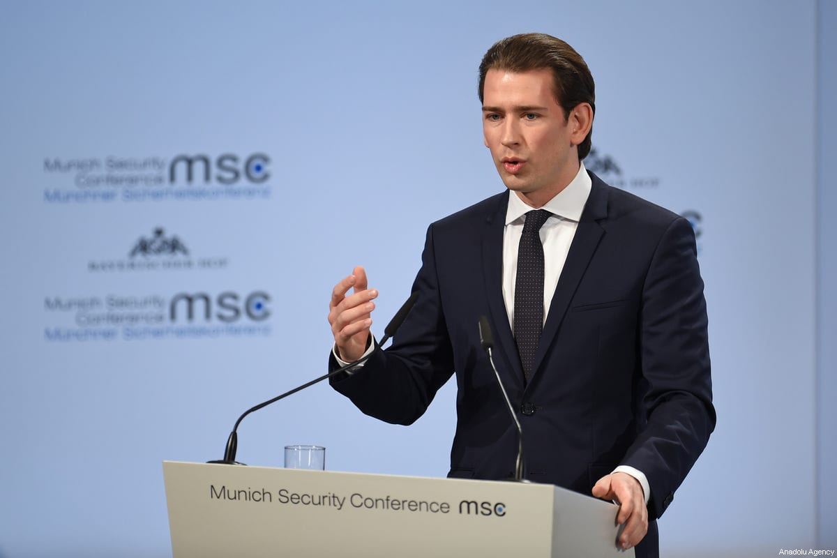 Austrian Chancellor Sebastian Kurz in Munich, Germany, on 17 February 2018 [Andreas Gerbert/Anadolu Agency]