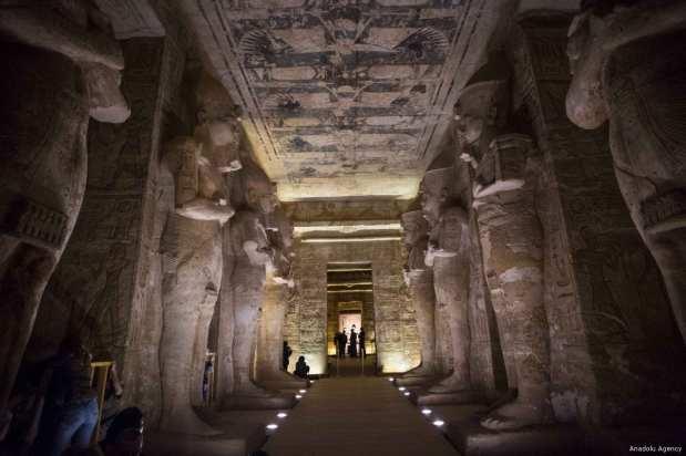An interior view of Abu Simbel temples in Aswan, Egypt on 22 February 2017 [İbrahim Ramadan/Anadolu Agency]