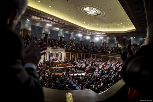 President Donald Trump address to Congress in Washington, US on 30 January 2018 [Samuel Corum/Anadolu Agency]
