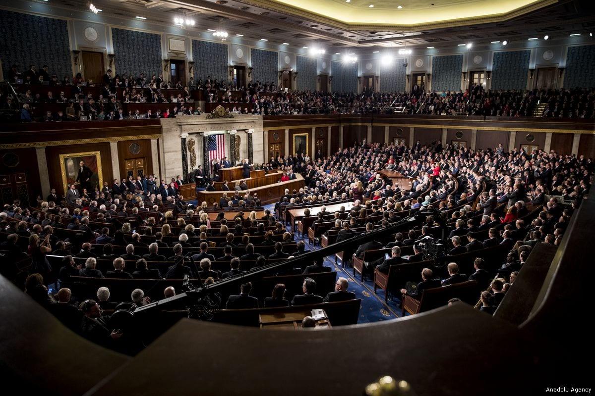 President Donald Trump address Congress in Washington, US on 30 January 2018 [Samuel Corum/Anadolu Agency]