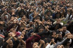 Rwandan refugees living in Israel, stage a demonstration after Israeli authorities decided to deport refugees in Tel Aviv, Israel on 7 February 2018 [Kobi Wolf/Anadolu Agency]