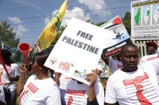 Protest outside the David Cup tennis match between Israel and South Africa, in Pretoria, South Africa on February 3, 2018 [Facebook / bdssouthafrica]