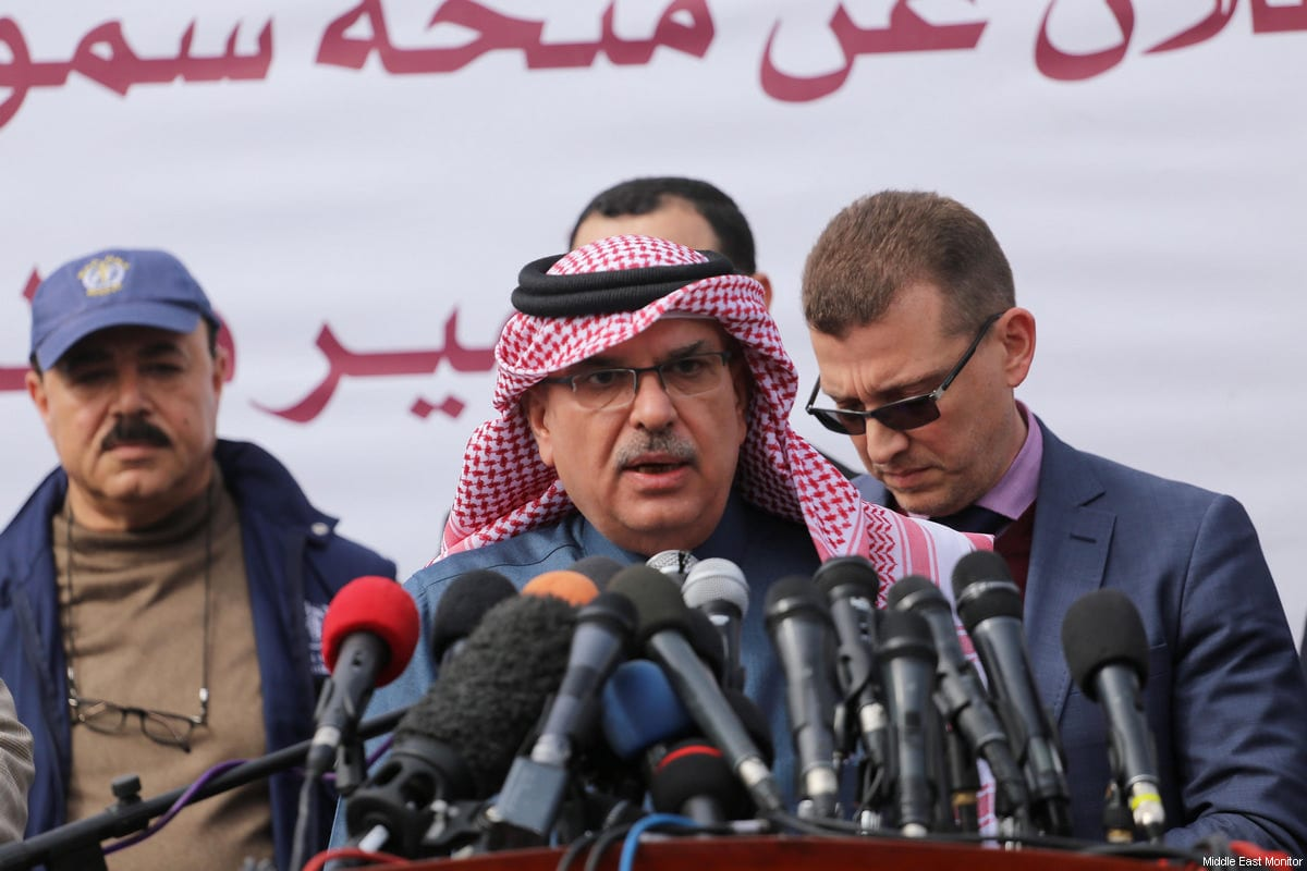 Qatari Ambassador Mohamed Al-Emadi holds a press conference in Al-Shifa Hospital, Gaza on February 19, 2018 [Middle East Monitor / Mohammed Asad]