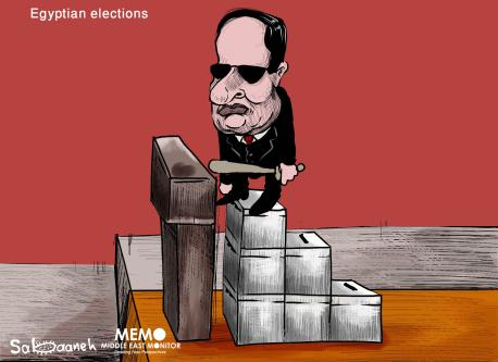 Egypt's Sisi warns opponents as calls to boycott election build - - Cartoon [Sabaaneh/MiddleEastMonitor]