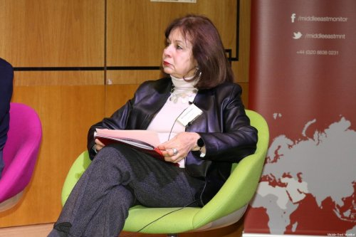 Ghada Karmi seen at Middle East Monitor's 'Jerusalem: Legalising the Occupation' conference in London, UK on 3 March, 2018 [Jehan Alfarra/Middle East Monitor]