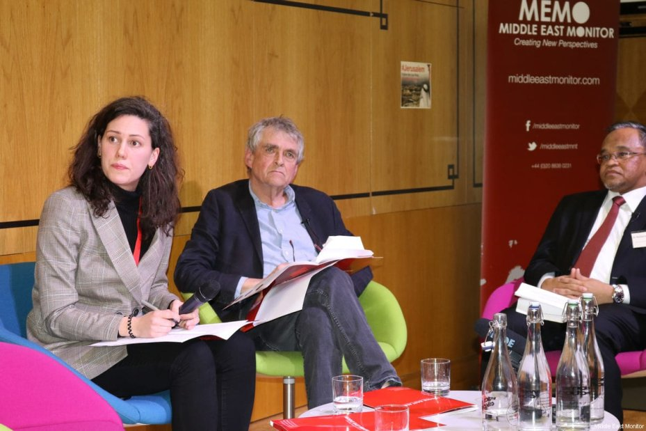 Amelia Smith, Donald Macintyre and Dr Nasharudin Mat Isa seen at Middle East Monitor's 'Jerusalem: Legalising the Occupation' conference in London, UK on 3 March, 2018 [Jehan Alfarra/Middle East Monitor]
