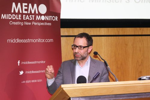 Daniel Levy at Middle East Monitor's 'Jerusalem: Legalising the Occupation' conference in London, UK on March 3, 2018 [Jehan Alfarra/Middle East Monitor]