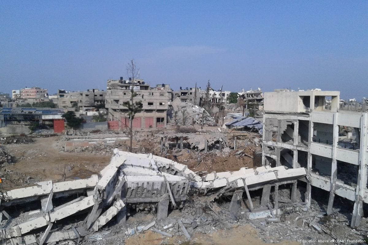Jamal Abdul Nasser School after it was completely destroyed during Israel's 2014 attack on Gaza [Education Above All (EAA) Foundation]