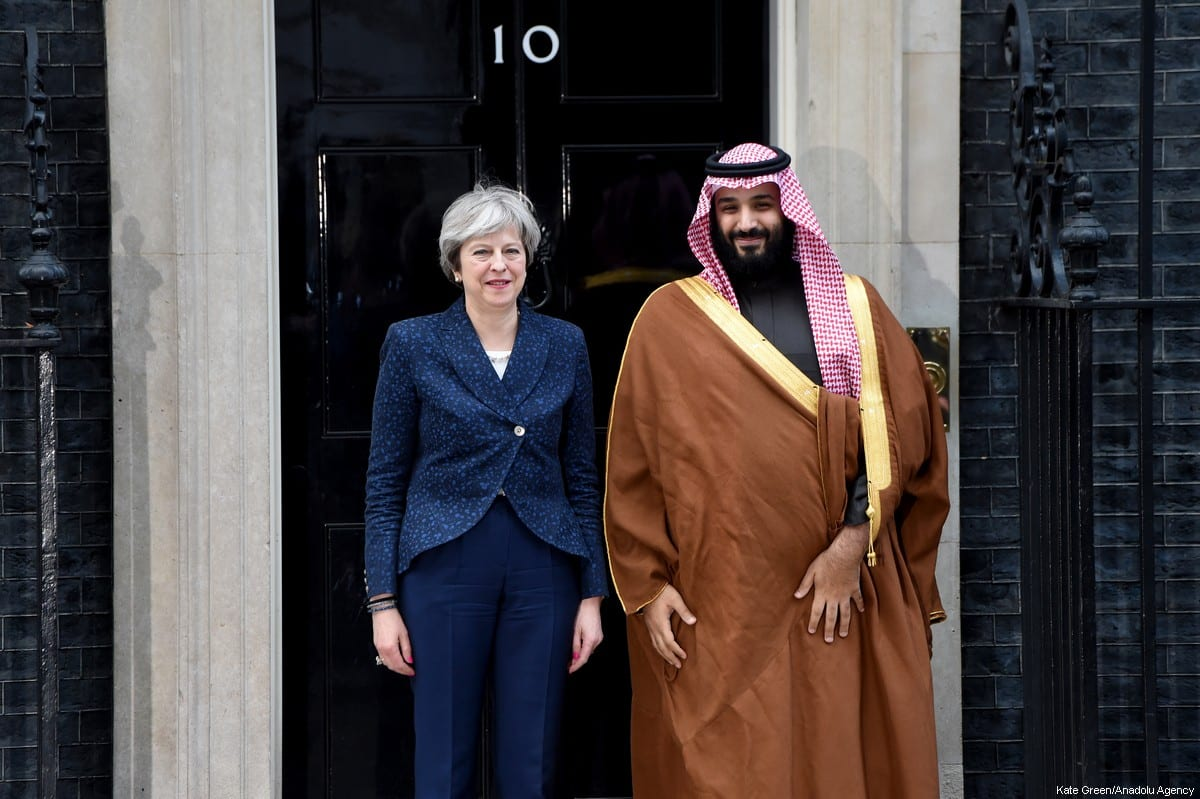 British Prime Minister Theresa May (L) welcomes The Crown Prince of Saudi Arabia Mohammad bin Salman al-Saud (R) on the steps of No.10 Downing Street, ahead of their meeting, during his official visit in London, United Kingdom on 7 March 2018 [Kate Green/Anadolu Agency]