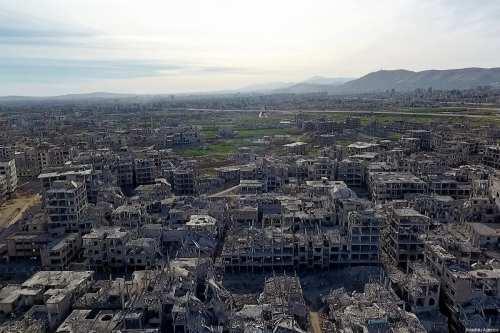 Aerial view of the Eastern Ghouta region, Damascus, Syria on 9 March, 2018 [Ammar Al Bushy/Anadolu Agency]