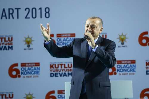 President of Turkey and Leader of Turkey's Justice and Development Party (AK Party) Recep Tayyip Erdogan addresses during AK Party's 6th ordinary provincial congress at Yasar Dogu Sport Hall in Samsun, Turkey on March 24, 2018 [Emrah Yorulmaz / Anadolu Agency]