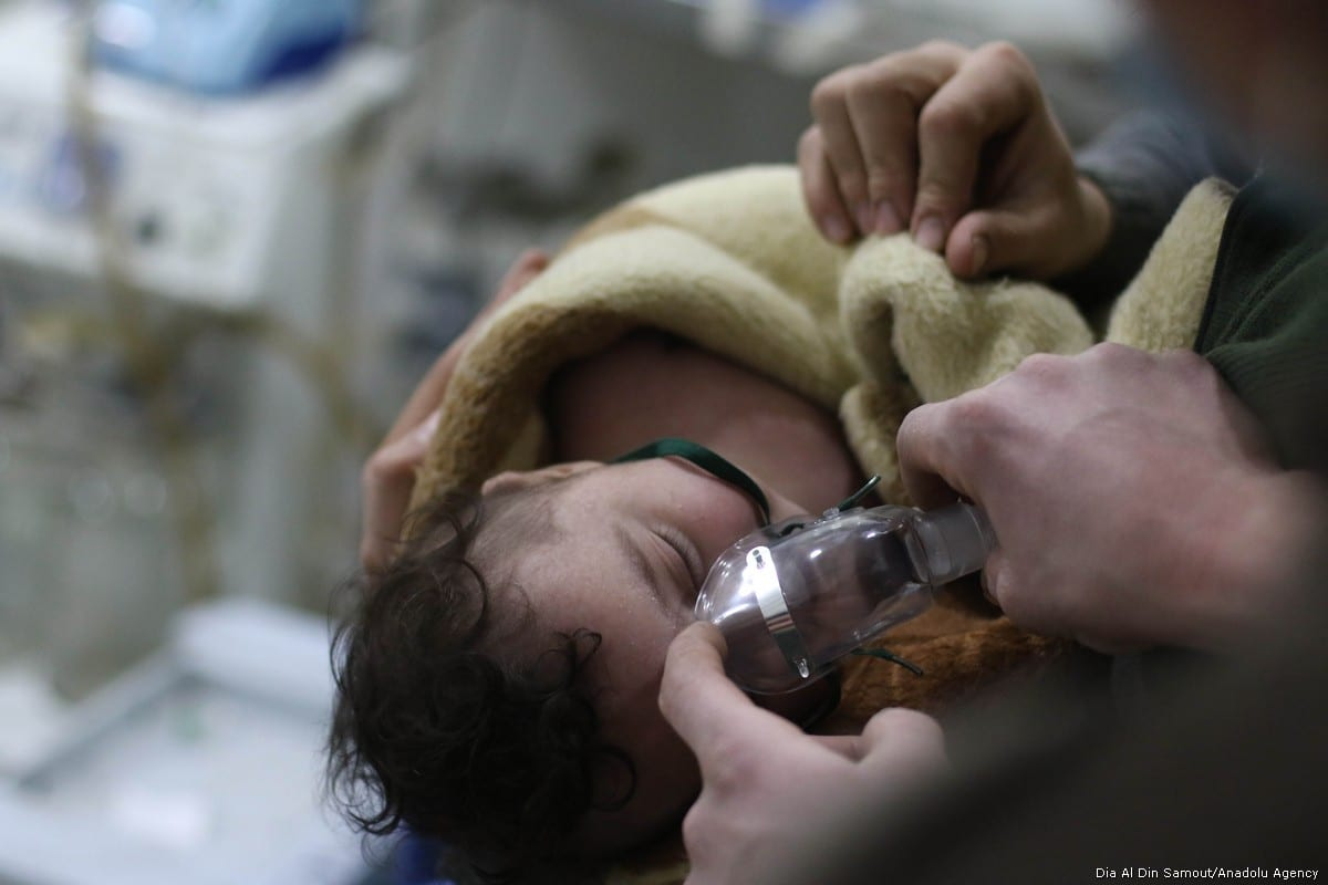 Affected babies receive medical treatment after Assad regime forces conduct allegedly poisonous gas attack on Sakba and Hammuriye districts of Eastern Ghouta, in Damascus, Syria on 7 March, 2018 [Dia Al Din Samout/Anadolu Agency]