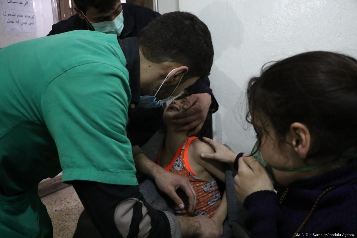 Affected children receive a medical treatment after Assad regime forces conduct allegedly poisonous gas attack on Sakba and Hammuriye districts of Eastern Ghouta, in Damascus, Syria on 7 March, 2018 [Dia Al Din Samout/Anadolu Agency]