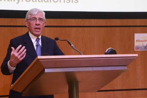 Jack Straw, UK's foreign secretary, at MEMO's 'Saudi in Crisis' conference, on November 19, 2017 [Middle East Monitor]