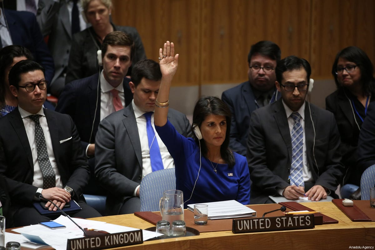 Nikki Haley, US Ambassador to the United Nations votes during a UN Security Council meeting following the United States, United Kingdom and France attacks on chemical weapons positions in Syria at United Nations Headquarters in New York, United States on 14 April, 2018 [Mohammed Elshamy/Anadolu Agency]
