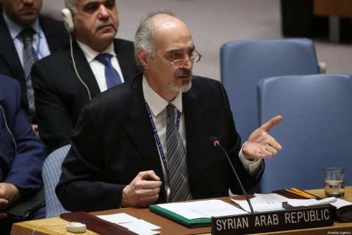 Bashar Jaafari, permanent Representative of the Syrian Arab Republic to the United Nations gives a speech during a UN Security Council meeting following the United States, United Kingdom and France attacks on chemical weapons positions in Syria at United Nations Headquarters in New York, United States on April 14, 2018. ( Mohammed Elshamy - Anadolu Agency )