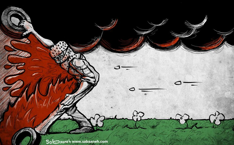 Palestinians along the Gaza-Israel border reaffirm the 'Right of Return' and get shot by IOF - Cartoon [Sabaaneh/MiddleEastMonitor]