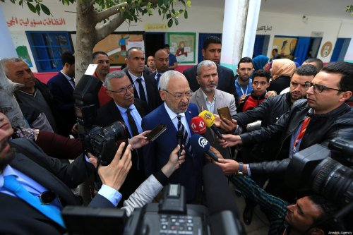 Leader of Ennahdha Party Rashid al-Ghannouchi makes a statement at a polling station after casting his vote during Tunisian local elections, which was held first time after 2011 Arab Spring revolution, in Ben Arous, Tunisia on May 06, 2018. ( Yassine Gaidi - Anadolu Agency )