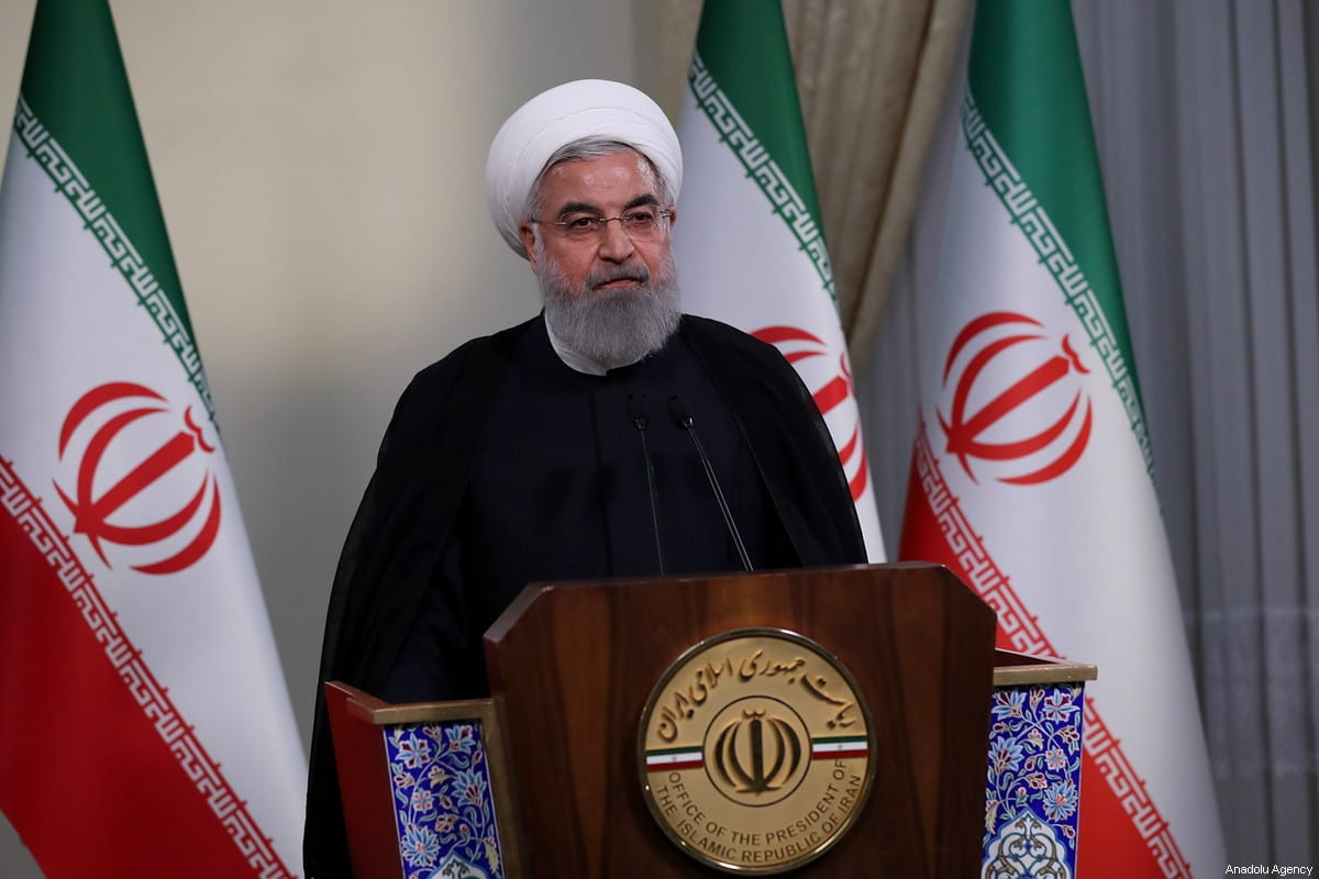 Iranian President Hassan Rouhani holds a press conference on Trump's withdrawal decision from Iran nuclear deal in Tehran, Iran on May 8, 2018 [Iranian Presidency / Handout]