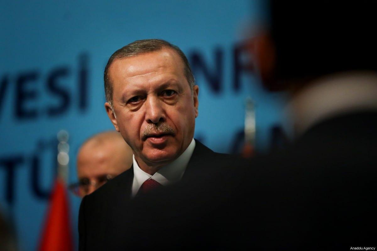 President of Turkey, Recep Tayyip Erdogan seen at the Organisation of Islamic Cooperation (OIC) Extraordinary Islamic Summit Conference at Istanbul Congress Centre in Istanbul, Turkey on May 18, 2018 [Berk Özkan / Anadolu Agency]