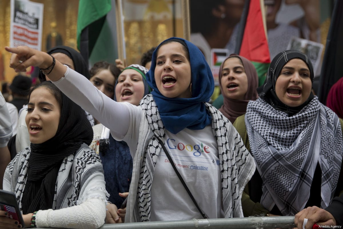 Women take part in a demonstration, organized to mark the 70th anniversary of Nakba, also known as Day of the Catastrophe in 1948, and against the Israeli violence in Gaza on May 18, 2018 at Times Square in New York, United States. ( Mohammed Elshamy - Anadolu Agency )