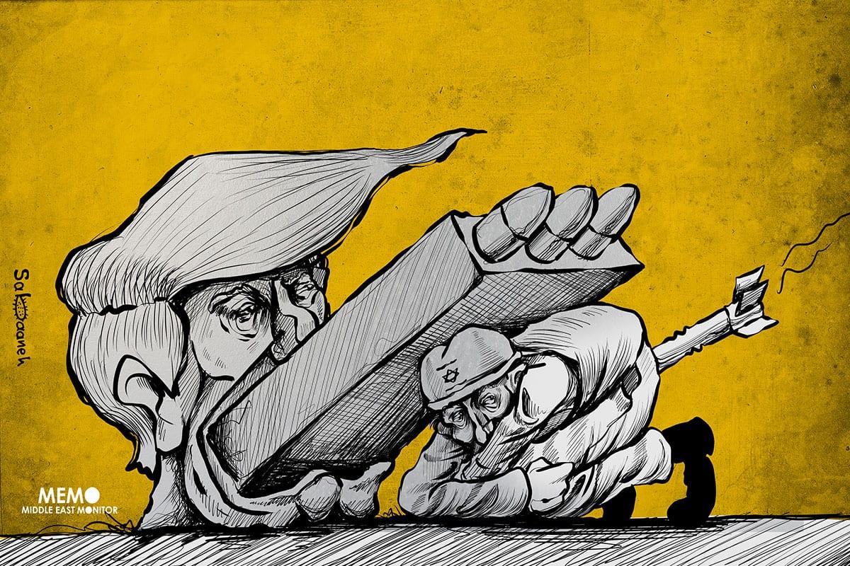 Iran Nuclear Deal or Trump protecting Israel - Cartoon [Sabaaneh/MiddleEastMonitor]