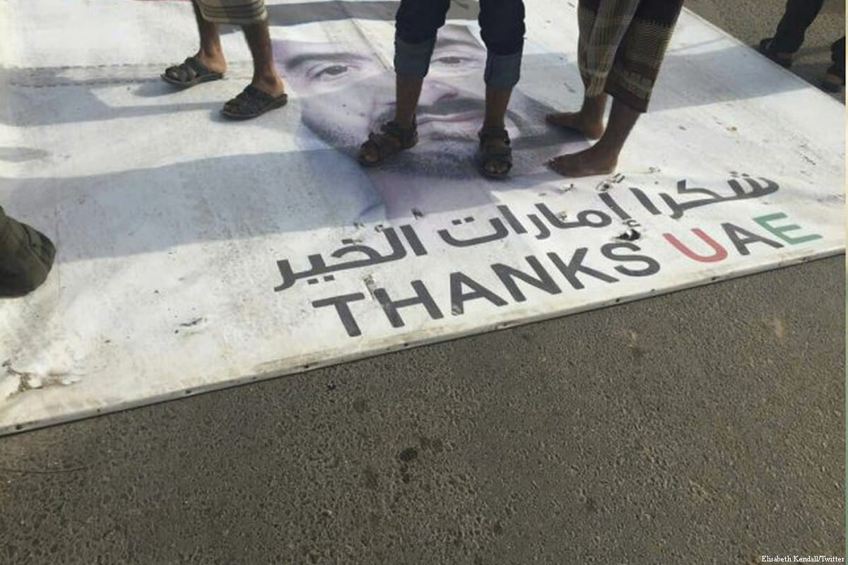 Yemeni's step on the face of Crown Prince of UAE Mohamed bin Zayed Al-Nahyan in protest against UAE's involvement in the war on Yemen on 27 May 2018 [Elisabeth Kendall/Twitter]