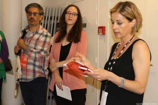 Hanna Atallah, Samia, Patricia at the Palestinian Film Festival in Paris, France [Jehan Alfarra/Middle East Monitor]