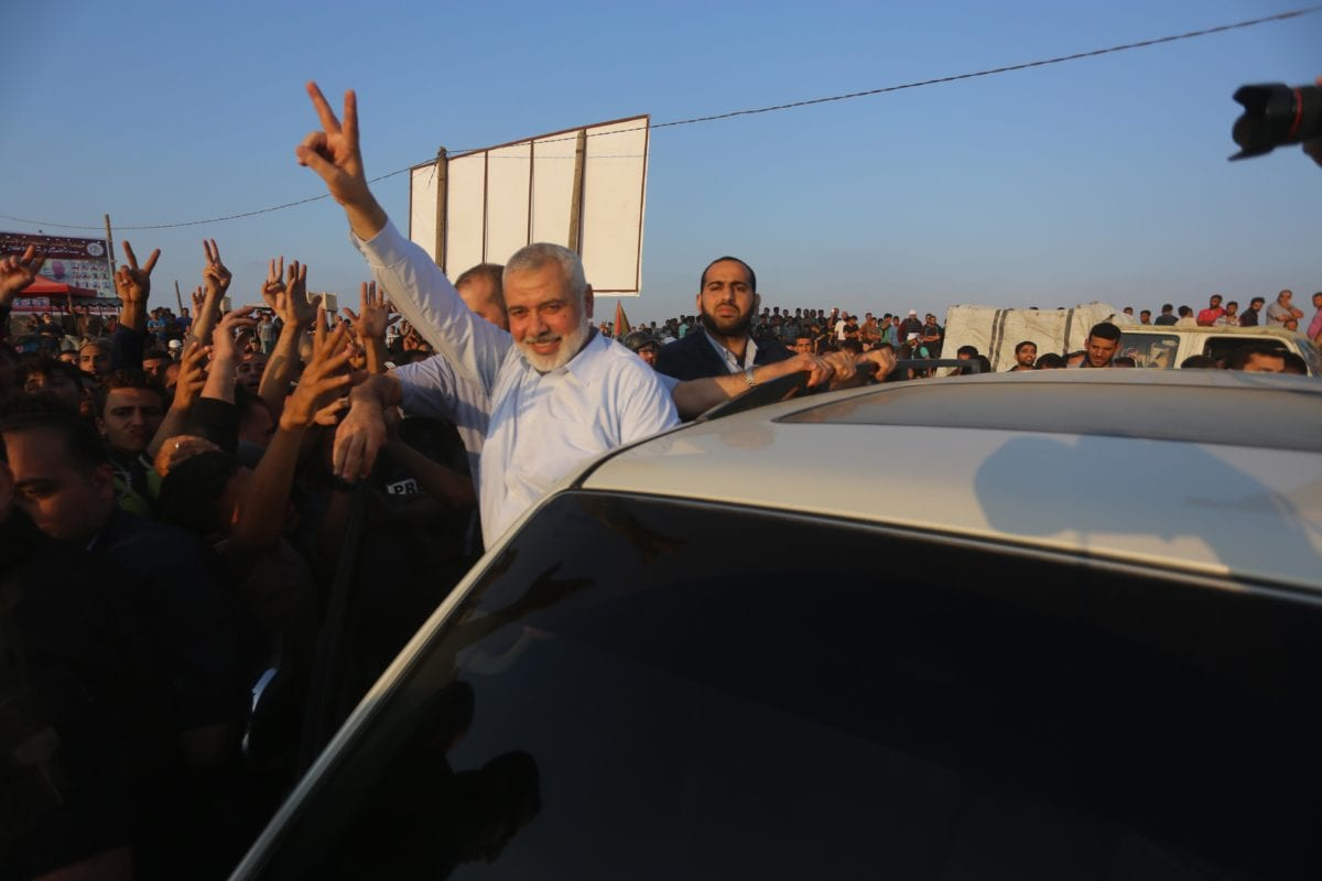 Head of Hamas' political bureau Islamic Haniyeh joins the Great March of Return on the Gaza-Israel border on 15 May 2018 [Mohammed Asad/Middle East Monitor]
