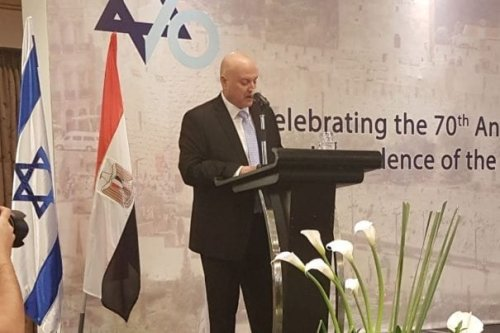 Israel's Ambassador to Egypt David Govrin at the celebration of the 70th anniversary of Israel's founding at Nile Ritz Carlton hotel in Cairo, 8 May 2018 [Israel Foreign Ministry/Twitter]