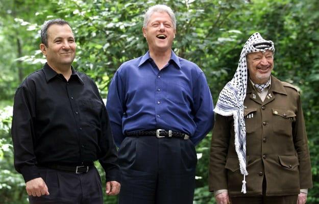 U.S. President Bill Clinton, Israeli prime minister Ehud Barak and Palestinian leader Yasser Arafat at Camp David, July 2000 [Wikipedia]