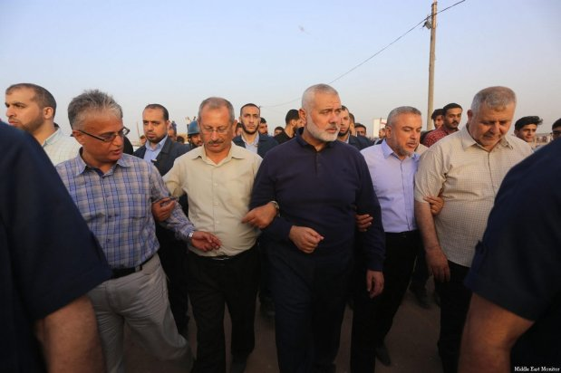 Head of Hamas' political bureau Islamic Haniyeh seen at the Gaza-Israel border, during the ninth consecutive week of protests, organised as part of the Great March of Return, on 25 May 2018 [Mohammed Asad/Middle East Monitor]