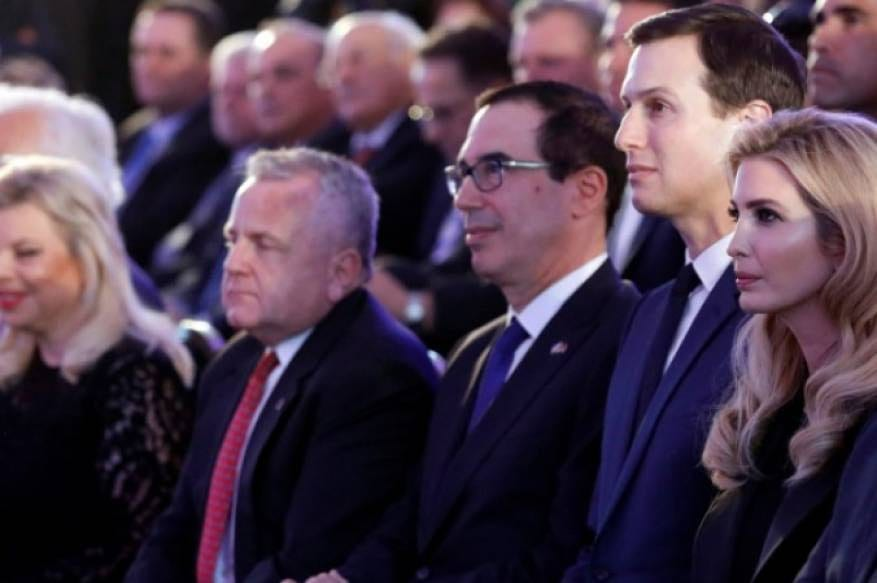 Treasury Secretary Steven Mnuchin along with Ivanka and Jared Kushner attend the opening of the US embassy in Jerusalem, 15 May, 2018