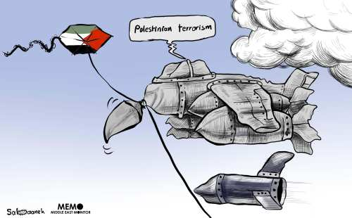 Israel carries out 9 airstrikes in Gaza, in response to kites - Cartoon [Sabaaneh/MiddleEastMonitor]