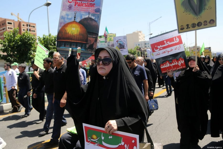 Iranians march towards Tehran University during International Al-Quds Day protest in Tehran, Iran on 8 June, 2018 [Fatemeh Bahrami/Anadolu Agency]